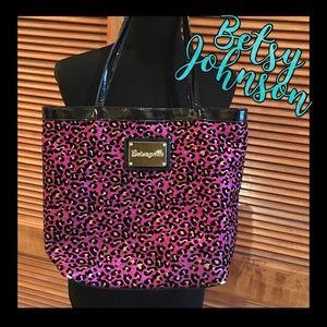 Betsey Johnson pink gold & black cheetah tote